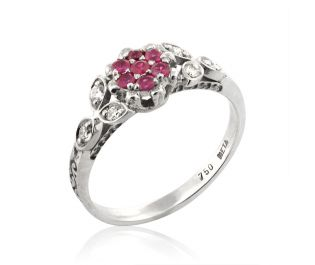 Floral Ruby Cluster Ring White Gold