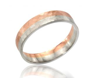 Men's Hammered Two-Tone Gold Wedding Band