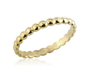 Hand-Crafted Yellow Gold Beaded Band