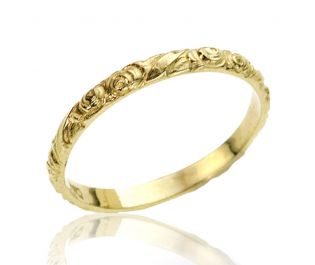 Vintage Yellow Gold Floral Engraved Wedding Band