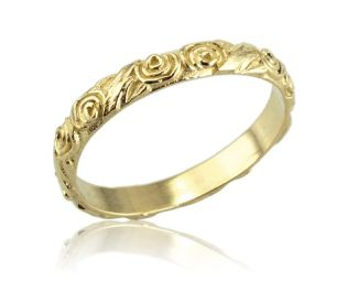 Yellow Gold Vintage Floral Engraved Wide Wedding Band