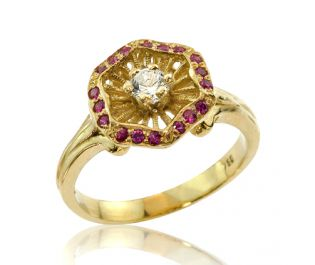 Colorful Intricate Engagement Ring