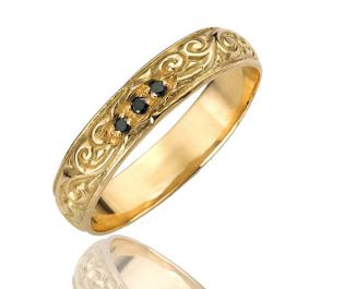 Engraved Gold Band with Black Diamonds