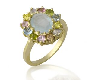 Yellow Gold Victorian Style Colorful Halo Ring