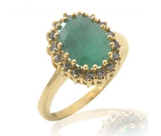 Victorian Style Emerald Halo Ring