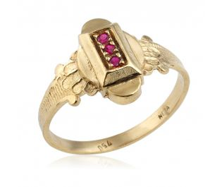 Artistic Ruby Yellow Gold Signet Ring
