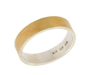 Men's Gold Band with Silver Inlay