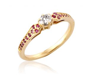 Antique Diamond & Ruby Pave Ring In Yellow Gold