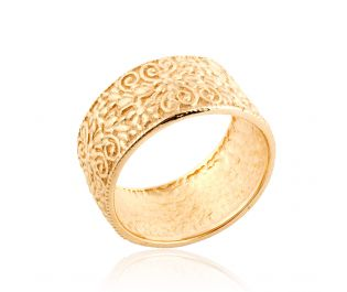 Wide Engraved Floral Gold Band