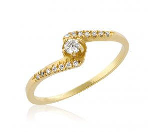 Delicate Twist Yellow Gold Engagement Ring