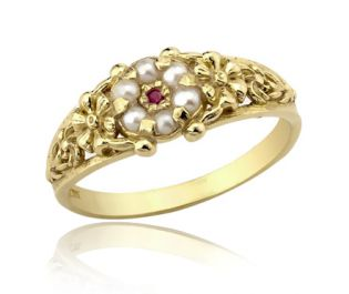 Antique Pearl Cluster Ring with Ruby