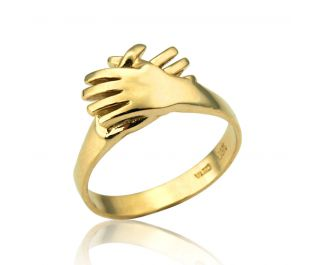 Joining Hands Solid Gold Ring
