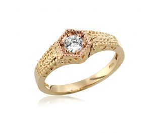 Baroque Inspired Diamond Ring Solid Gold