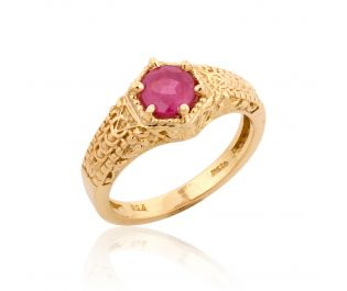 Baroque Inspired Ruby Ring Yellow Gold