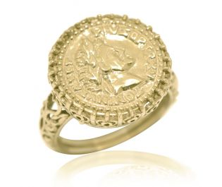 Openwork Yellow Gold Coin Ring