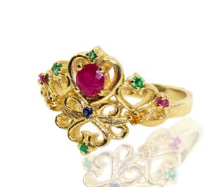 Ruby and Emerald Royal Crown Ring Solid Gold