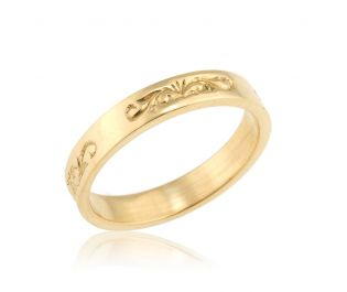 Classic Wedding Band with Vintage Style Engravings