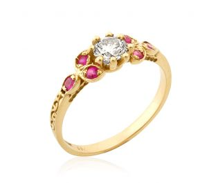 Yellow Gold Vintage Diamond and Ruby Engagement Ring