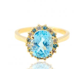 Victorian Style Floating Halo Blue Topaz Ring 14k