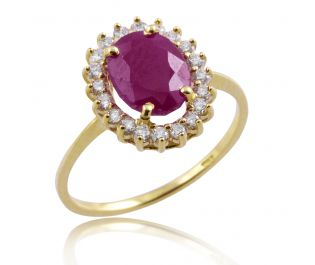 Victorian Style Ruby & Diamond Floating Halo Ring