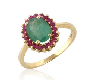 Victorian Style Floating Halo Emerald Ring