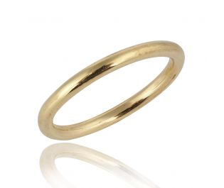 Solid Round Wedding Band Yellow Gold