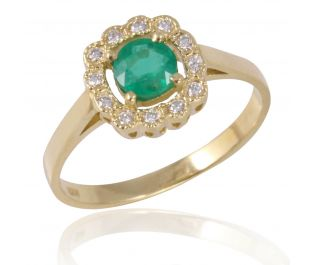 Emerald Floral Halo Ring