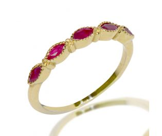 Half Eternity Marquise Ruby Ring in Yellow Gold