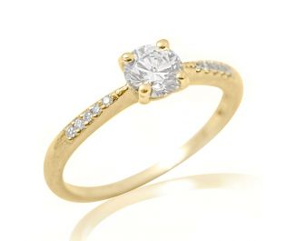 Yellow Gold Pave Diamond Solitaire Ring