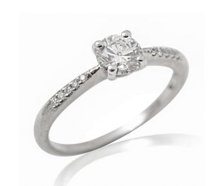 White Gold Tapered Solitaire Diamond Engagement Ring