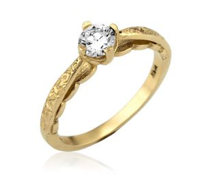 Vintage Style Diamond Solitaire Engagement Ring